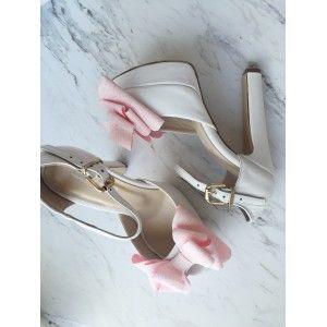 Beyaz Deri Pembe   Fiyonklu Gelin Ayakkabısı (13cm)