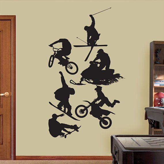 Fathead Assorted Action Sports Silhouette   Wall Sticker Outlet