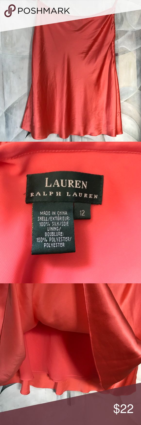 "Ralph Lauren Silk Coral Skirt EUC! Lined Shimmery Side zip Size 12 16"" across waist and 24"" length * see photos for minor pinholes Ralph Lauren Skirts Midi"