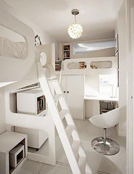 Inside a micro off the grid creative house. Living small is all about creative space saving.