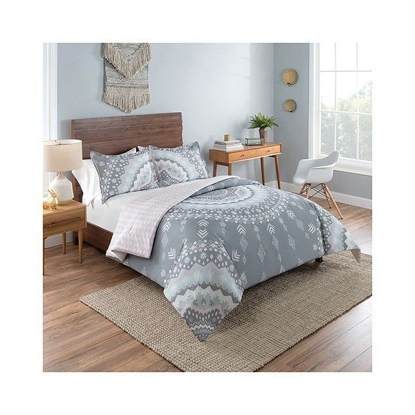 grey medallion reversible comforter set 80 liked on polyvore featuring home bed
