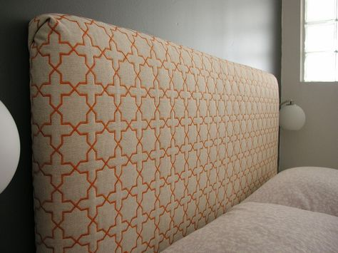 I don't love the fabric, but here are instructions on how to make your own headboard.  SUPER EASY. (good find, Mom)