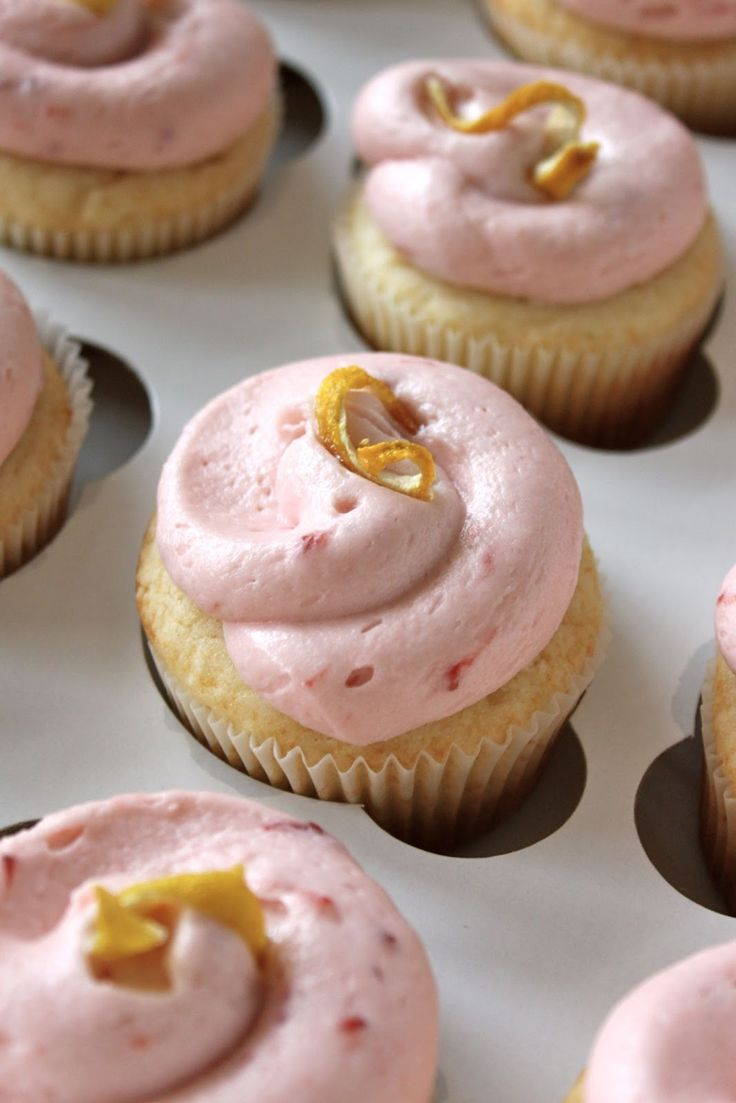 Baked Perfection  Lemon Cupcakes with Strawberry Frosting  best cupcake I  39 ve made by far  amp  didn  39 t crumble