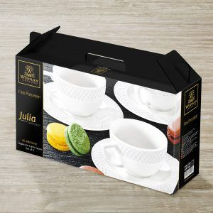 6 OZ | 170 ML CAPPUCCINO CUP & SAUCER SET OF 6 IN COLOUR BOX
