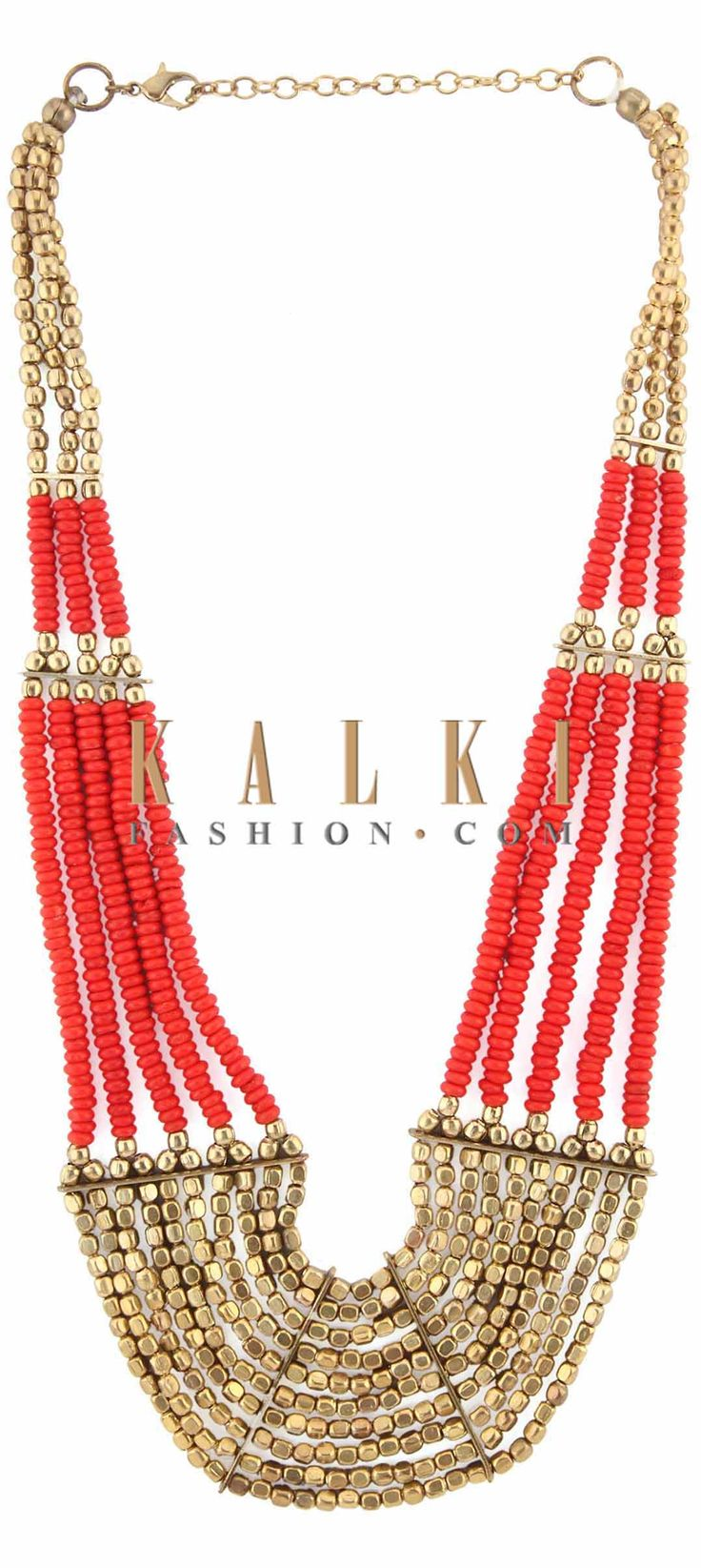 Buy Online from the link below. We ship worldwide (Free Shipping over US$100) Price-$29 Click Anywhere to Tag http://www.kalkifashion.com/red-and-gold-moti-embellished-necklace-only-on-kalki.html
