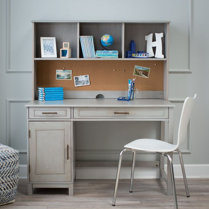Classic Playtime Bennington Desk with Optional Hutch - Weathered Gray | from hayneedle.com