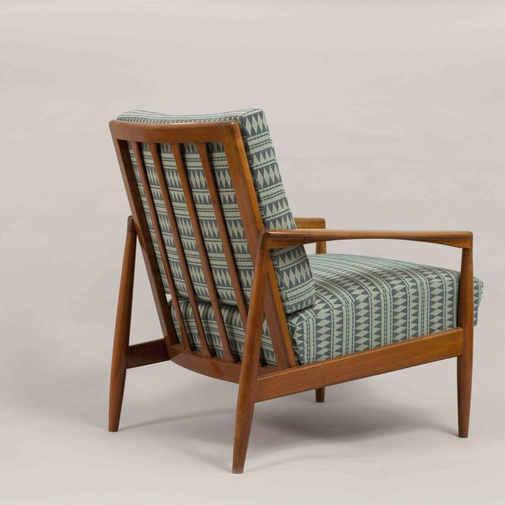 Circa 1950  This rare teak paper-knife armchair was designed by Kai Kristiansen and produced by Magnus Olesen in Denmark in the 60s. It featured a polished frame and new upholstery, that can be changed upon request with the client's fabric.