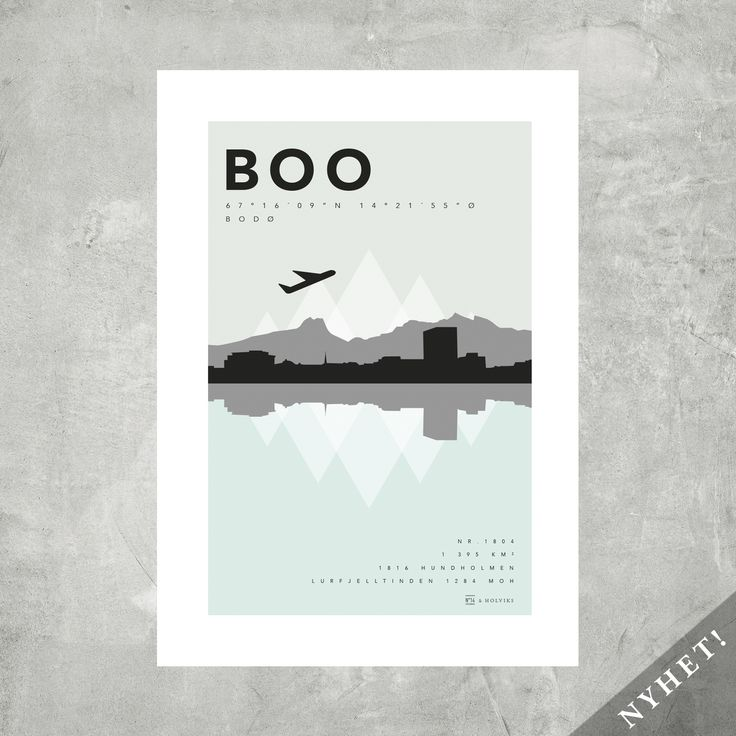 Plakaten for alle som elsker Bodø!I samarbeid med NO 14/Design Bodø har vi laget denne flotte posteren med Bodø skyline og Børrvasstindene i bakgrunnen. I tillegg har vi også tatt med litt fakta om byen vi elsker.BOO: flyplasskode Bodø Lufthavn. Nr 1804: kommunenr.1395 km2:  arealLurfjelltinden: høyeste fjell1816: grunnlagtHundholmen: det gamle navnet på Bodø sentrumFor hver solgte plakat går 15 kr (50x70) og 10 kr (A3) til Kirkens Bymisjon.Posteren BOO/BODØ kommer størrelsene i 50x70 og A3.