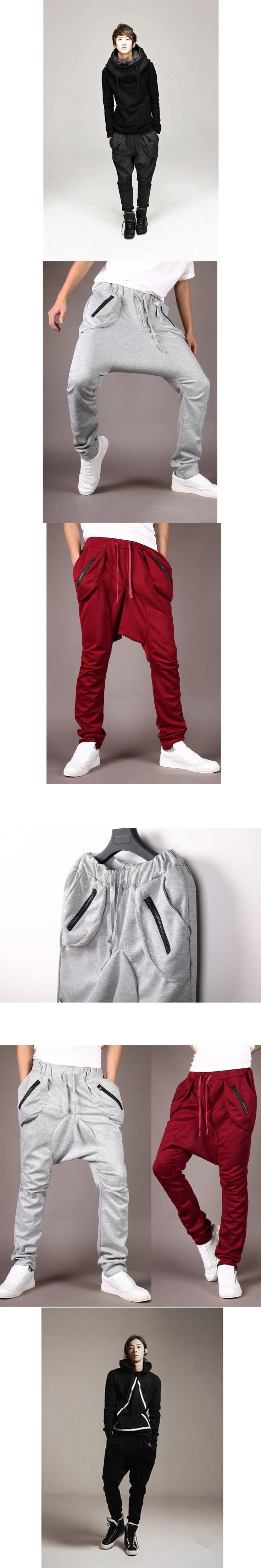 Men's Harem Pants Male Sportswear Solid Color Casual Full Pants Black/Dark Gray/Wine Red Jogger Long Trousers SJ0088