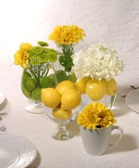 Lemon and Lime- Fresh fruit makes such a lively centerpiece to any shower!