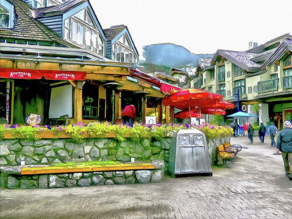 A Stroll Through Whistler Village - Restaurants Art Print by Leslie Montgomery.
