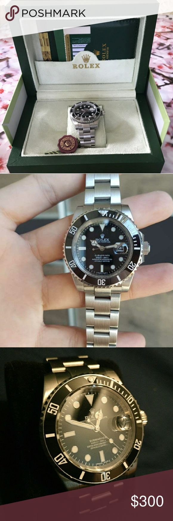 Rolex Submariner 116610 Rolex Submariner:  -High quality rep -Heavy Stainless Steel -Proper Magnification on Cyclops -Etching of Crown at 6 -GLIDES -Comes with Box and Papers  To purchase please contact me at: (520) 357-1398  I can get just about any rep watch  Watches I can get: AP, Breitling, Omega, Rolex, Tudor, Patek Philippe, Cartier, Hublot and more!!! Rolex Accessories Watches