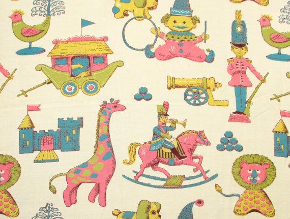 217 best images about vintage fabric children on for Vintage childrens fabric