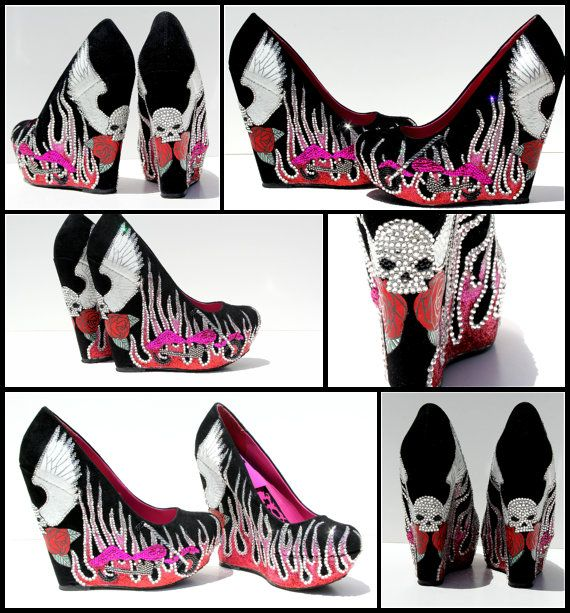 Biker Babe or Biker Bitch Wedges with Swarovski Crystals, Glitter Flames, Skull, Wings, and Roses with Motorcycle via Etsy