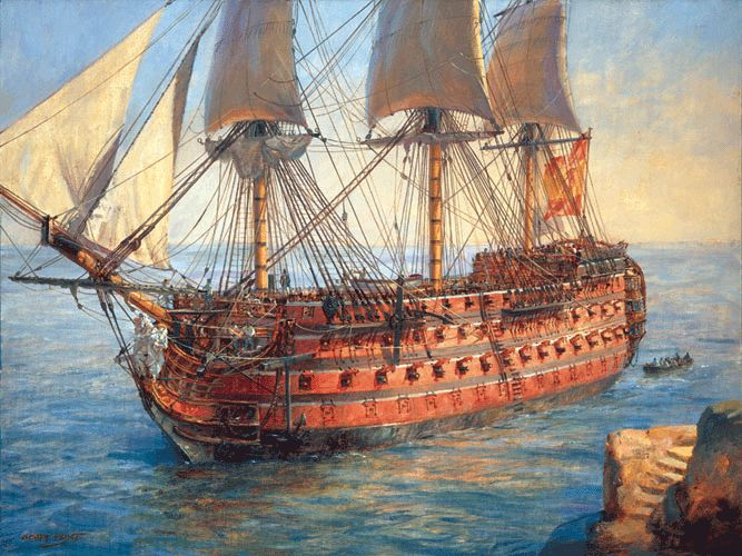 """""""Santisima Trinidad"""" by Geoff Hunt. The gigantic Spanish flagship at Trafalgar. She was painted a strong, glowing red. Built at Havana in 1769 as a 112-gun ship, re-armed in 1796 with about 136 guns to make her the world's only ship with four complete gundecks, this celebrated Spanish flagship fought at the battles of St. Vincent and Trafalgar. Several observers remarked on her red and white striped sides."""