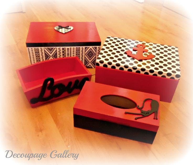 Czerwono-czarny zestaw - Więcej na mojej stronie na fb - Decoupage Gallery
