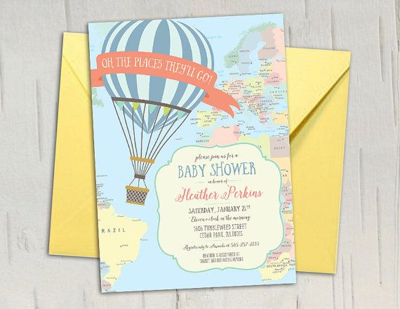 Hot Air Balloon Baby Shower Invitation  Travel by jenrikdesigns