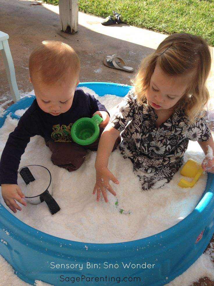 #SensoryBin : Sno Wonder West and his buddy Flyn had a great time parallel playing in the snowy substance.