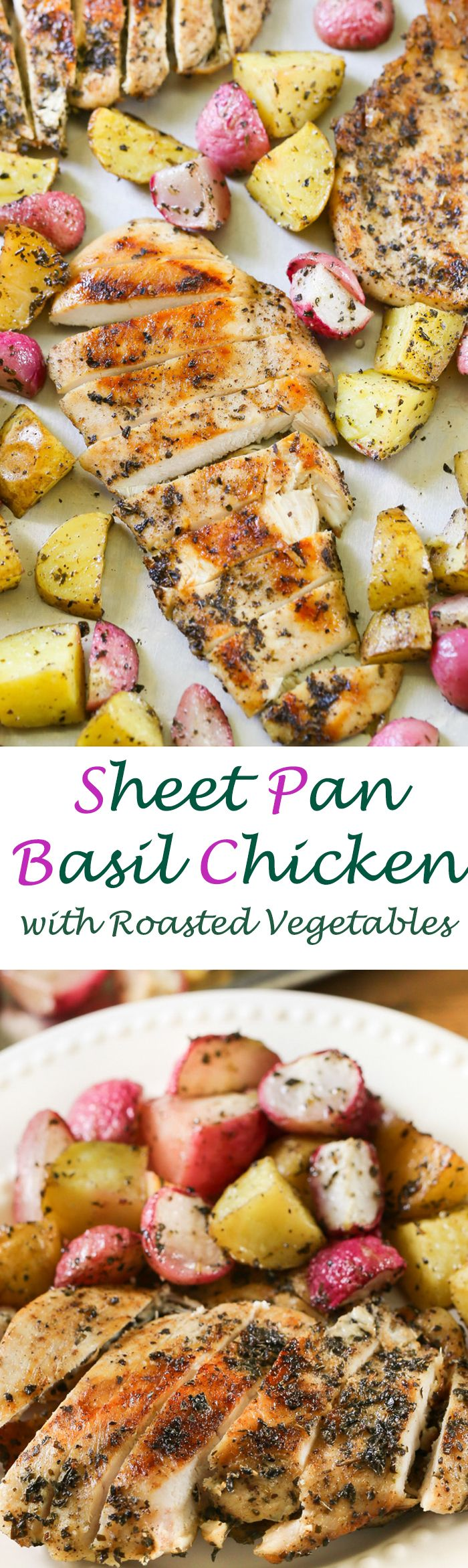 Sheet Pan Basil Citrus Chicken with Roasted Vegetables - A delightfully robust marinated chicken dinner made with six ingredients.  This easy to make recipe will quickly become a family favorite.  @Bertolli #ad #therecipeissimple