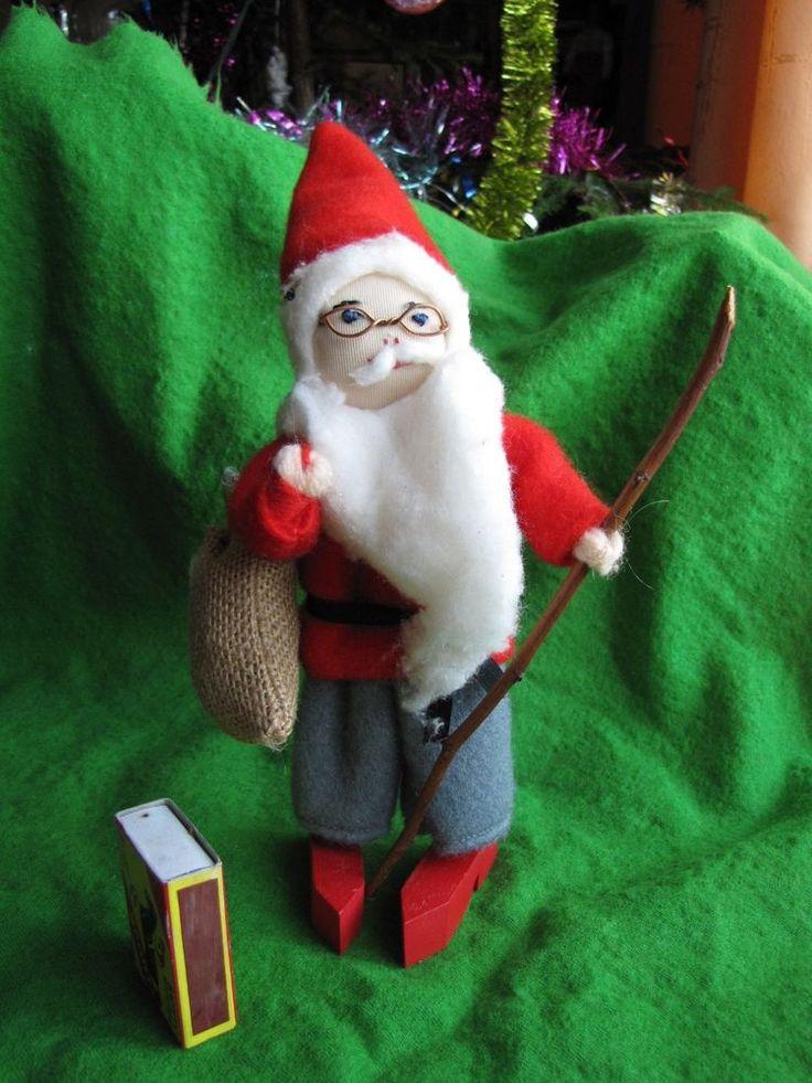Vintage Large Wood Christmas Doll Gnome Santa Tomte Sweden Figurine Red Soft