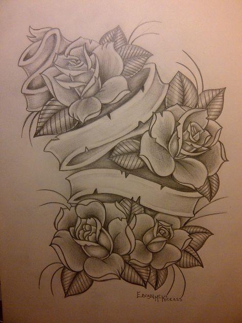 Roses N Banner By Ebony369 On Deviantart Tattoo Tattoos Rose Tattoos Tattoo Drawings