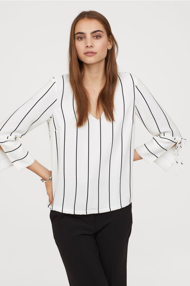 6445145e71aa7b V-neck Blouse - White striped - Ladies