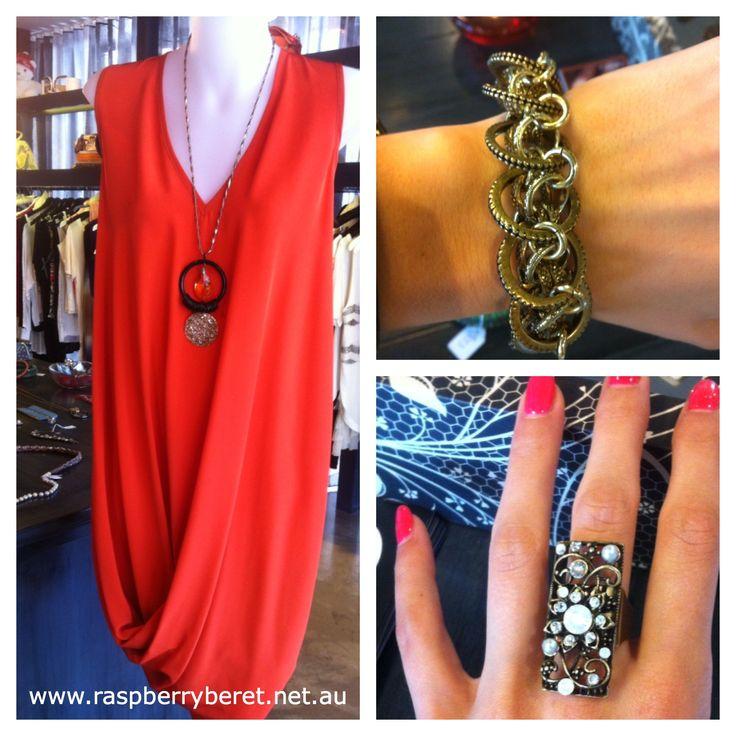 Gary Bigeni Orange Peelen Dress. Also available in Black. $336 Aris Geldis Bracelet $310 Elisabetta Ricciardi Ring $58