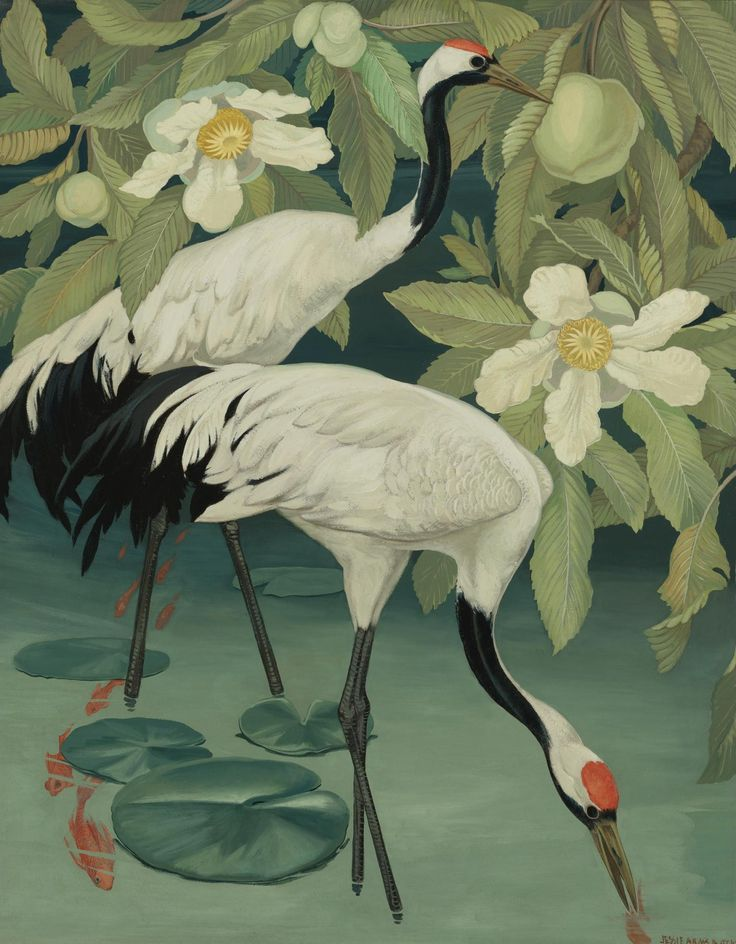 Jessie Arms Botke (American, 1883-1971). Sacred cranes in a tropical river.