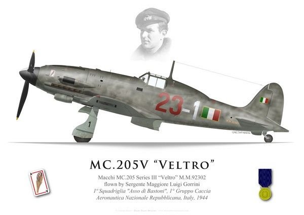 "Bravo Bravo Aviation: Macchi MC.205 Veltro, Luigi Gorrini, 1a Squadriglia ""Asso di Bastoni"", 1° Gruppo Caccia"