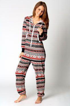 Gracie Knitted Fairisle Hooded Onesuit on Wanelo