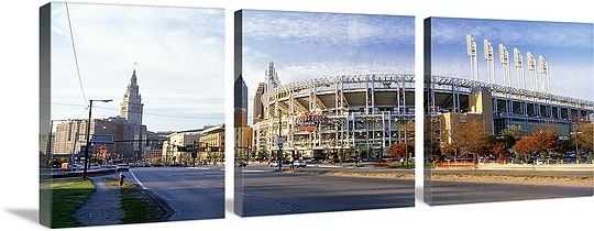 Low angle view of baseball stadium, Jacobs Field, Cleveland, Ohio