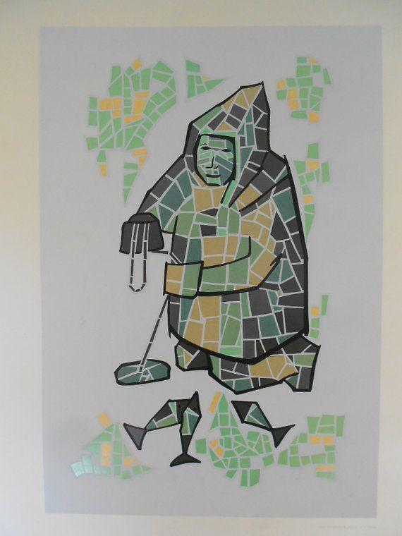 An Eskimo In Mosaic by T. Calvin Original Silk by GuelphJunction