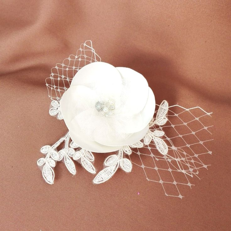 Bridal Lace and Taffeta Hair Flower, Bridal Flower Hair Clip, Ivory Hair Flower by AnaManoleAtelier on Etsy