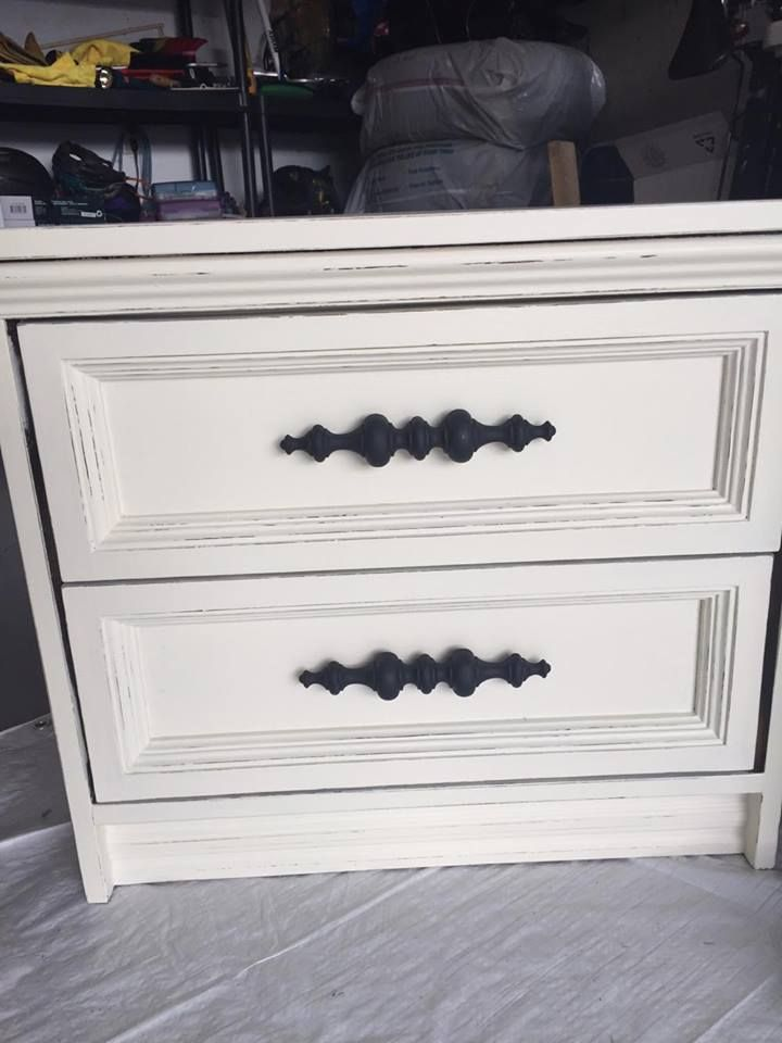 Shabby chic nightstand makeover painted using Superior Paint Co. Ivory