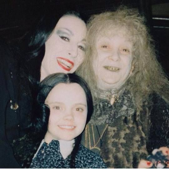 Big smiles on the set of Addams Family.