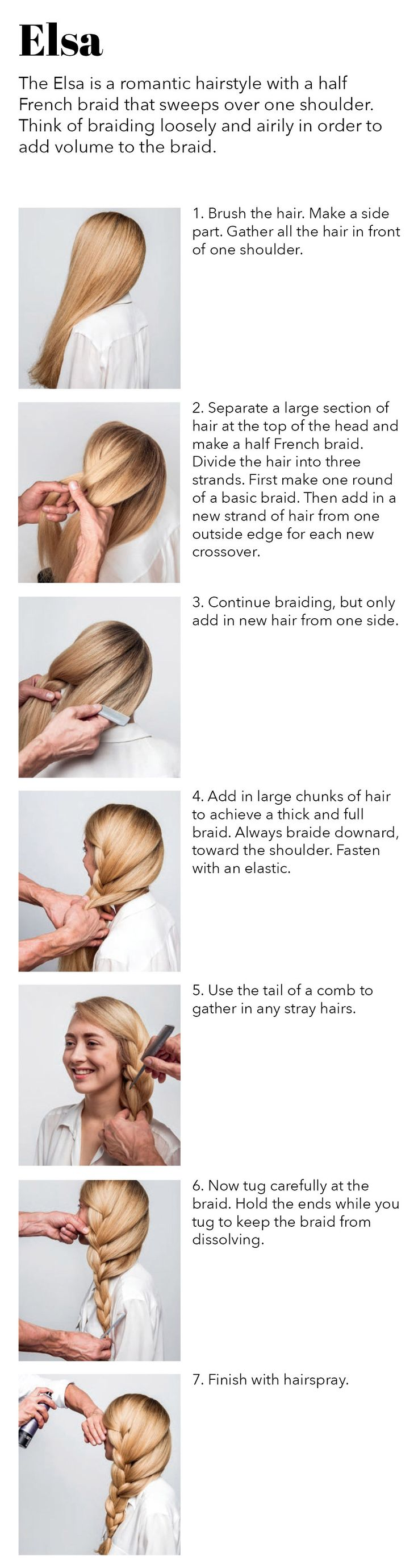 Elsa Braid || A romantic hairstyle and easy braid with a half French braid that sweeps over one shoulder.