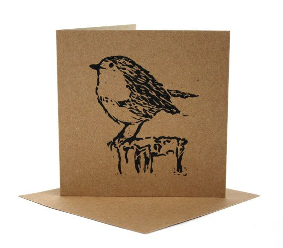 Robin Christmas Cards. Linocut Greetings Card. by TheLinoPrintShop, £14.99