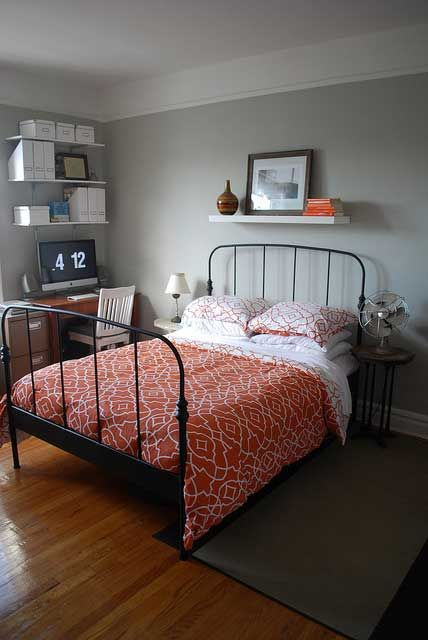 love the bed and bedding, and orange on grey. Bedding is Divatex
