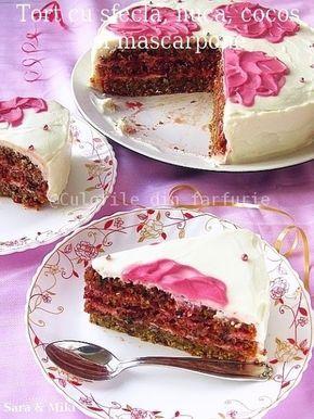 Tort cu sfecla rosie, nuca, cocos si mascarpone ~ Culorile din farfurie