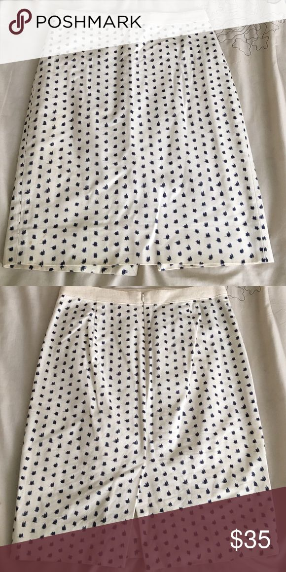 Cream with navy blue print pencil skirt Pencil skirt with a small split in the back J. Crew Skirts Pencil