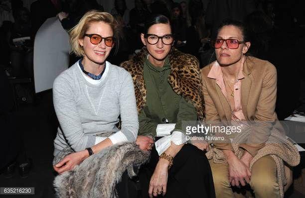 Sunrise Coigney Jenna Lyons and Courtney Crangi attends the Zero Maria Cornejo fashion show during New York Fashion Week at Pier 59 on February 13...