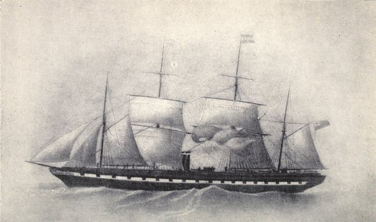 SS Great Britain with four masts 1853. This Day in History: Jul 19, 1843: Brunel's steamship the SS Great Britain is launched, becoming the first ocean-going craft with an iron hull or screw propeller