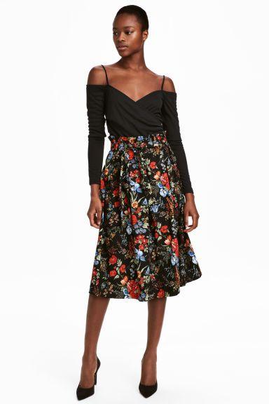 Z2018  Bawełniana spódnica - Czarny/Kwiaty - ONA   H&M PL