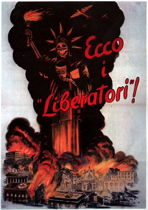 WWII Italian propaganda: The Statue of Liberty is shown as an angel of death, with Italian cities in flames after a bombing raid
