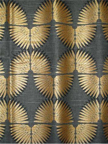 Looks like feathers to me, but...Urban Caterpillar Dusk // Genevieve Gorder Exclusive Decorator Fabric. Art Deco Metallic Fan print on heavy 100% cotton.