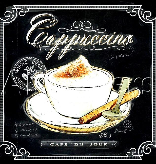 #Chalkboard #coffee art #Cappuccino ToniK ⊱CհαƖҜ ℒЇℕ℮⊰  www.art.com/products/p18267794874-sa-i7103407/chad-barrett-coffee-house-caffe-latte.htm