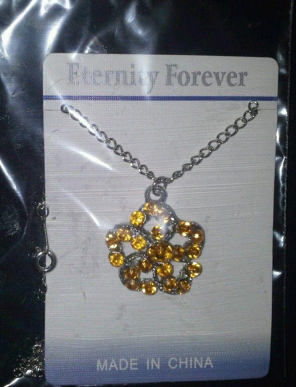 Orange Flower Rhinestone Pendant Necklace in Jewelry & Watches   eBay