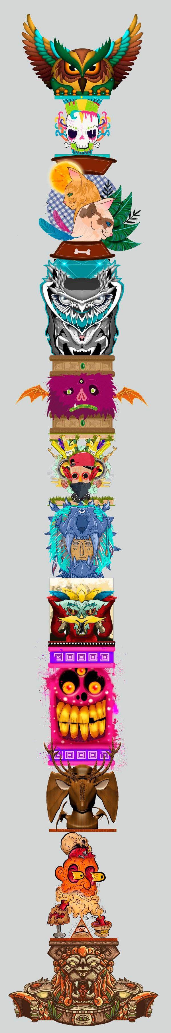 "Consulta mi proyecto @Behance: ""Collaborative illustration of a totemTótem en colectivo"" https://www.behance.net/gallery/46374345/Collaborative-illustration-of-a-totemTotem-en-colectivo"