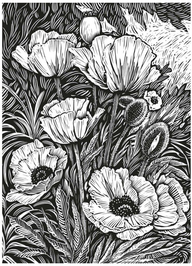 Woodcut coloring page