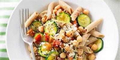 Try this Zucchini, Chickpea & Semi-Dried Tomato Pasta recipe.